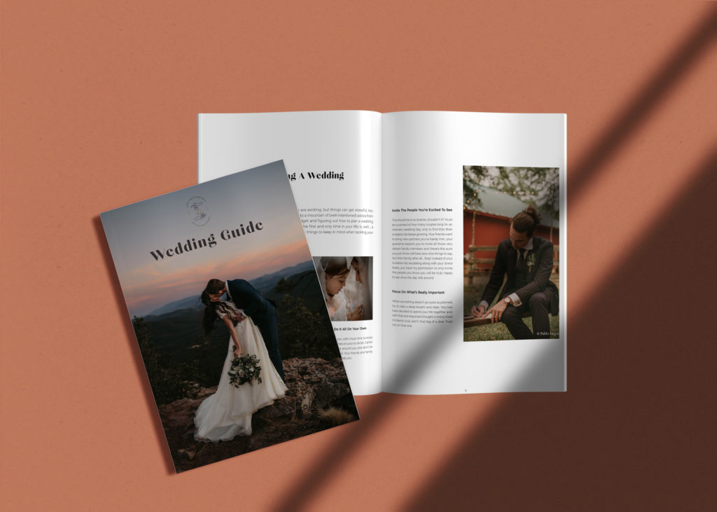 Dirty Boots and Messy Hair Wedding Guide Template Minimalistic PS & InDesign